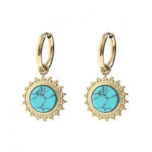 oorbellen goud turquoise