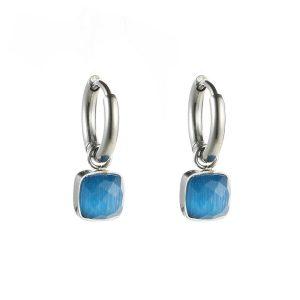 oorbellen zilver – blauw