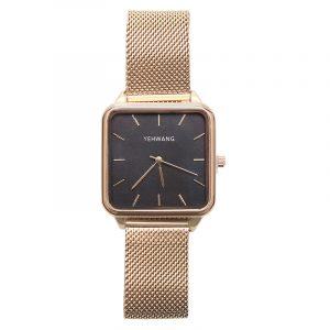horloge vierkant goud – zwart.2
