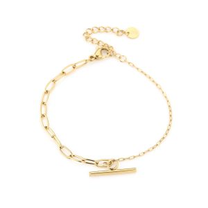 stalen armband met twee schakels en kappitelslot – goud
