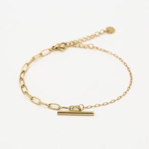 stalen armband met twee schakels en kappitelslot – goud.1