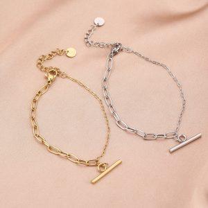 stalen armband met twee schakels en kappitelslot – sfeerfoto